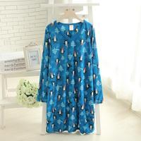 Plus size clothing 2014 spring polar fleece fabric loose lounge sleepwear nightgown