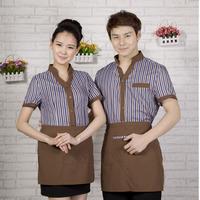 [20pcs-top&apron] Work wear summer short-sleeve shirt  women work clothes for restaurant waitress wholesale free ship