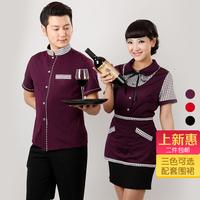 [20pcs-top&apron]  female clothes short-sleeve uniform male Women work clothes  women work clothes for restaurant waitress