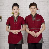 [20pcs-top&apron] waitress uniforms Work wear summer waitress uniforms short-sleeve  the waiter work clothes wholesale free ship
