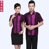 [20pcs-top&apron] waitress uniforms Summer  short-sleeve work wear  the waiter work clothes wholesale free ship