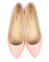 2014 New Arrivals Nude Pink soft Leather ballet flats big size women fashion shoes wholesale free shipping