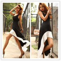 2014 New Design Summer Women Charming Long Splicing Black And White Mid-Calf Sleeveless Spaghetti Strap Sexy Evening Party Dress