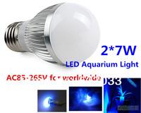 SALE Led Reef Lights Coral 14W Led Grow Aquarium Lighting 2*7W E27 Diamond Aqua Deep Royal Blue Hydroponics Led Lamps Grow 6pcs