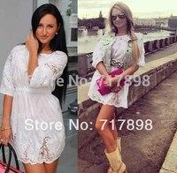 New 2014 spring cotton winter dress girl dress lassie lace crochet chiffon casual dress irregular white dress,plus size