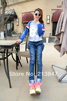 Free Shipping Fashion New Plus Size Print Slim Skinny Pants Women Pencil Pants Trousers Winter Jeans Trousers Pants Ladies Women