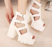 fashion punk black platform sandals for women shoes woman pumps 2014 ladies chunky high heels belt buckle cut outs A804