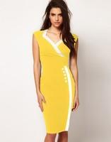 New 2014 Top Grade Summer Women Vestidos Button Patchwork Knee Length Work Wear Bodycon Pencil Casual Dress Plus Size S-XXL