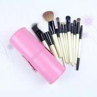 New !! Professional 12 PCs Makeup Brush Set Make-up Toiletry Kit Wool Brand Make Up Brush Set Case free shipping -Pink