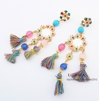 Chinese Women Ethnic Fashion Thread Long Drop Earrings 2014 New Fashion