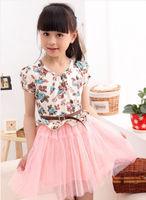 2014 HOT Kids Toddlers Girls Princess Party Vintage Lace Dress Tutu Floral 2-7Y