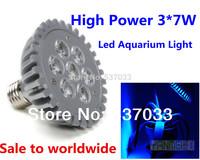 3*7W Led Reef Lights CREE E27 21W Led Aquarium Grow Light for Coral Reef Coral LED Deep Royal Blue Hydroponics Led Bulbs 2pcs
