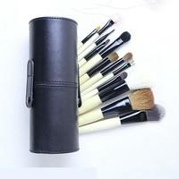 New !! Professional 12 PCs Makeup Brush Set Make-up Toiletry Kit Wool Brand Make Up Brush Set Case free shipping -Black