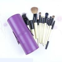 New !! Professional 12 PCs Makeup Brush Set Make-up Toiletry Kit Wool Brand Make Up Brush Set Case free shipping -Purple