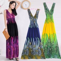 2014 Hot Sell !  New wholesale Deep V Collar Peacock Bohemia Summer Long Beach boho Dress Maxi  Dress