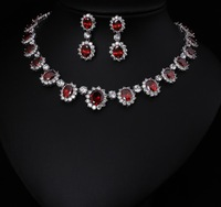 White Free Shipping Platinum Plated AAA Cubic Zircon Jewelry Sets ,Earrings /Necklace,Promotion,Nickel Free, Factory price