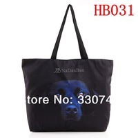 2014 Black Dog Digital Print Shopping Shoulder Bag  Fashion  Canvas Computer Laptop Women Totes With Zipper HB031