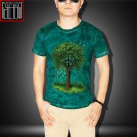 Fashion 3D Tree Print Mens T shirts Short Sleeve O neck Cotton Summer Casual Men's Tee shirts Green M L XL XXL camisas