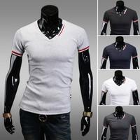 Size M-XXL New Summer Colour Bar Matching Big Size V-Neck Cotton Handsome Men's T-shirts LJM001