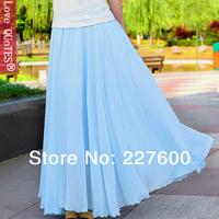 HOT Women Three Layer Chiffon Pleated Retro Long Maxi Dress Elastic Waist Skirt Free Shipping