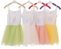1Pcs Retail 3~7 Age Kids Girl Sleeveless Wild Tanks/Strapless /Dance Dress,2014 Summer Casual Children Show Clothing