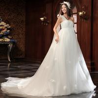 2014 slit neckline one shoulder princess bride train maternity autumn and maternity  wedding dress