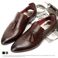 Casual leather tassel male pedal shoes lazy fashion pointed toe genuine leather male shoes