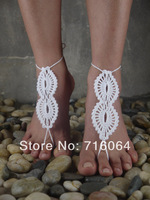 2pairs/LOT Beach wedding White Crochet wedding Barefoot Sandals, Nude shoes, Foot jewelry, Bridal, Victorian Lace, Sexy,  Anklet
