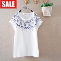 Women's summer national trend print 100% cotton loose geometry women's o-neck short-sleeve T-shirt juniors clothing