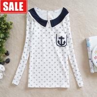 Autumn and winter women top anchor polka dot peter pan collar navy style women's long-sleeved shirt t-shirt