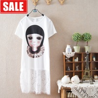 Summer women's lace long design the loggerhead 100% women's girl cotton o-neck short-sleeve T-shirt one-piece dress