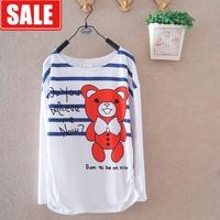 Women's loose 100% cotton basic shirt female cartoon bear stripe long-sleeve round neck T-shirt women's