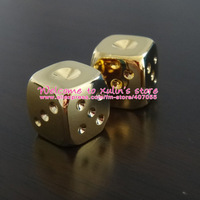 [XX0001]DHL Free Shipping 50 Pieces Gold Dices 24K Gold Clad Metal Casino Dices Poker Party Game Toy Dominoes XMAS Gift