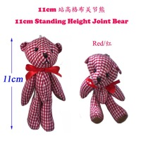 <50pcs/Lot H=11cm> Red Color  Plush Joint Bear Pendant For Key/Phone For Christmas Gifts 8 Color To Choose