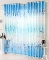 New Arrival Blue  Window Curtain For Living Room Blackout Curtain + Tulle150*250cm Floral Kitchen Curtains For Summer