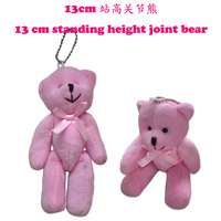 #Pink H=13cm 40pcs Cartoon Plush Tinny Bear/Tactic Bear Joint Bear With Bow Pendants Toys/Dolls For Key/Phone