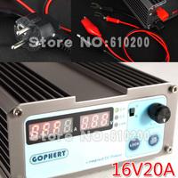 Free shipping NEWprecision Compact Digital Adjustable low power DC Power Supply OVP/OCP/OTP 110V/230V 16V/20A MCU control EU