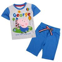 new 2014 Peppa pig boyl's Nova clothing set baby boy pepe pig t-shirt+kids pants children casual clothes sets  N021#