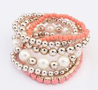 2014 New Fashion Multilayer Rhinestone Crystal Pearl Bracelets For Women Jewelry #105086