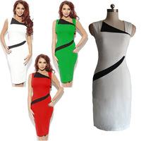 2014 summer dress, women dress work  V-neck  patchwork button decoration one piece women set Vest Dress Sleeveless knee length