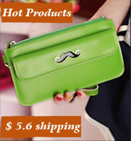 Free rushed women shipping 2014 new pattern portable good sheepskin leather zipper and buckle pu ladies fashion wallet mustache