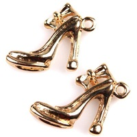 Free Shipping 90pcs Personalized Rose Gold Plated Bowknot High-heeled Shoes Charms Pendants For Jewelry Making Craft DIY 146230