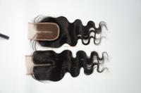"center part lace closures, virgin cambodian hair closure 3.5""x4"" middle part body wave closure hair piece"