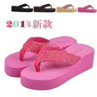 Summer new arrival 2014 platform screen at home paillette sand wedges slippers fashion women's flip flops TX39 us size 5-7