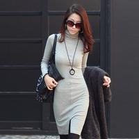 wholesale Ol knitted long-sleeve slim hip skirt female basic turtleneck one-piece dress
