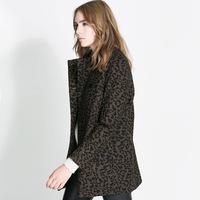 Leopard print woolen double breasted wool overcoat outerwear female haoduoyi Y8P1