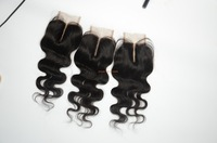 "Discount ! Lace closure virgin hair 3.5x4"" Full lace eurasian closure body wave natural color Can be dyed ,free shipping"