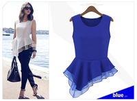 Blusas Femininas 2015 New Women Ladies Peplum Irregular Sleeveless Frill Fitted Shirt Tails Chiffon Blouse Tops