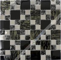 [Colorful Mosaic] Elaminated Black And White Kitchen Backsplash Tile Mosaic QH037