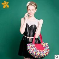 new 2014! Plaid pattern Applique flowers Girls shoulder bag Fashion shopping bag Casual cotton bag Free shipping